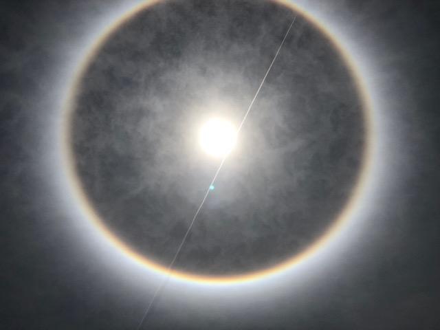A sun halo seen at noon at Princess Cay.